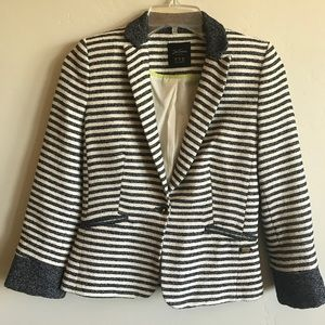 Zara S Trafaluc Blue White Striped Blazer NWOT